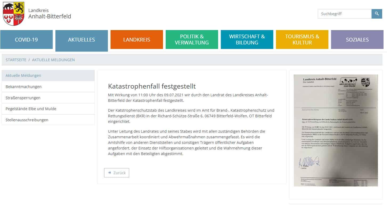Screenshot der Website des Landkreis Anhalt-Bitterfeld zum Katastrophenfall des Hackerangriffs